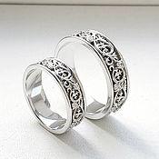 handmade. Livemaster - original item Paired wedding rings with patterns, silver (Ob18). Handmade.