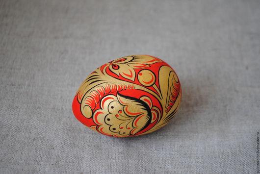 Подарки на Пасху ручной работы. Ярмарка Мастеров - ручная работа. Купить Яйцо с Хохломской росписью. Handmade. Ярко-красный, кисти
