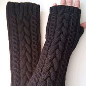 Аксессуары handmade. Livemaster - original item Mittens long with braids, black. Handmade.