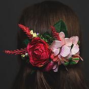 Гребень ручной работы. Ярмарка Мастеров - ручная работа Гребень. Чайная роза, гортензия. Handmade.