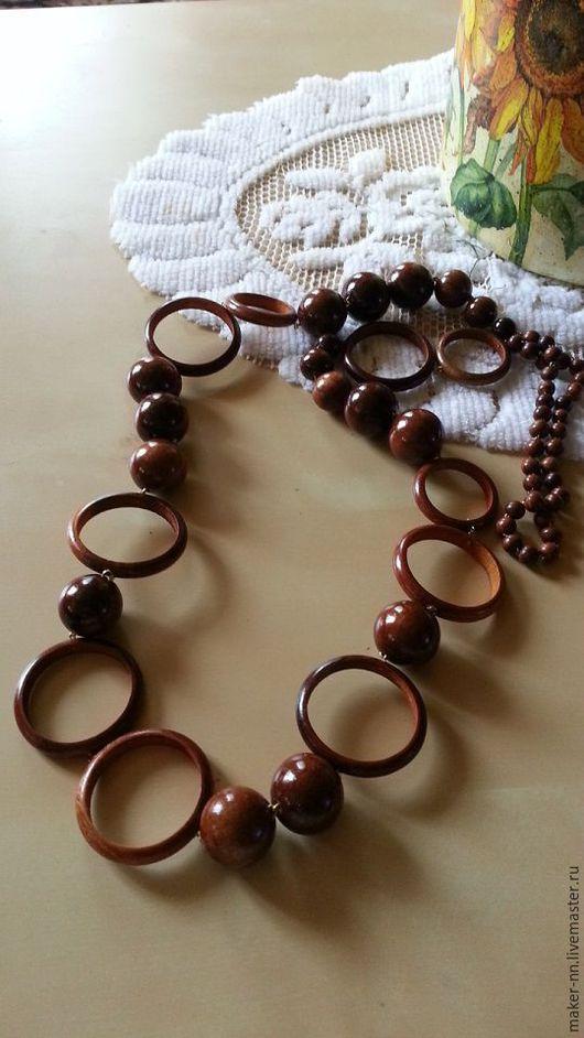 Колье, бусы ручной работы. Ярмарка Мастеров - ручная работа. Купить Длинные бусы из натурального дерева (3 вида). Handmade.