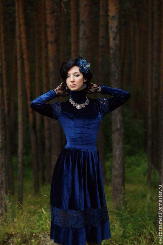 Платья ручной работы. Ярмарка Мастеров - ручная работа. Купить Платье Сапфировая роскошь. Handmade. Тёмно-синий, индиаидуальный пошив