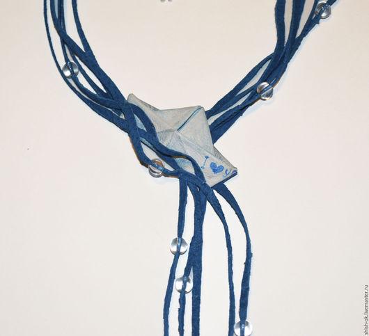 """Колье, бусы ручной работы. Ярмарка Мастеров - ручная работа. Купить колье из кожи """"Бумажный кораблик"""". Handmade. Синий"""