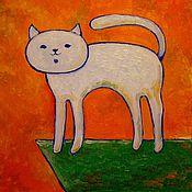Картины и панно ручной работы. Ярмарка Мастеров - ручная работа Белый кот. Handmade.