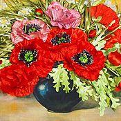 Картины ручной работы. Ярмарка Мастеров - ручная работа Картины:Картина вышивка лентами Маки в вазе. Handmade.