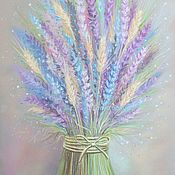 Картины и панно handmade. Livemaster - original item Picture of Lavender and wheat into the bedroom for wild flowers grey purple. Handmade.