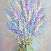 Картины и панно ручной работы. Ярмарка Мастеров - ручная работа Картина Лаванда и пшеница в спальню полевые цветы серый сиреневый. Handmade.