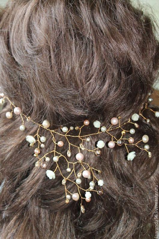 Свадебные украшения ручной работы. Ярмарка Мастеров - ручная работа. Купить Веточка для волос позолоченная для невесты. Handmade. Кремовый