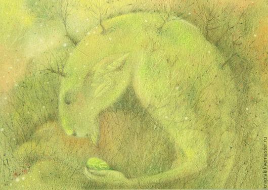 Фантазийные сюжеты ручной работы. Ярмарка Мастеров - ручная работа. Купить Зеленое сердце леса...Картина-принт на холсте.. Handmade.