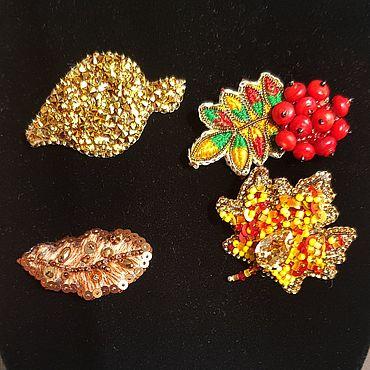 Украшения ручной работы. Ярмарка Мастеров - ручная работа Броши: Осенние листья. Handmade.