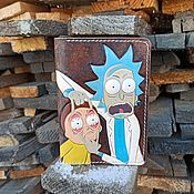 Канцелярские товары handmade. Livemaster - original item Cover for passport,international passport, auto documents Rick and Morty. Handmade.