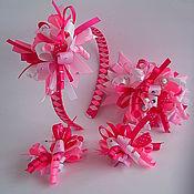 """Украшения ручной работы. Ярмарка Мастеров - ручная работа Комплект""""Розовый фейерверк""""(ободок,заколка-автомат,зажимы дл. Handmade."""