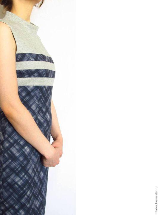Платья ручной работы. Ярмарка Мастеров - ручная работа. Купить платье футляр платье офисное платье без рукавов из джерси синее. Handmade.