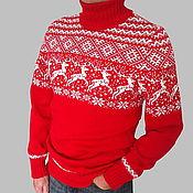 Одежда ручной работы. Ярмарка Мастеров - ручная работа Новогодний свитер с оленями шерстяной мужской Норвежский свитер. Handmade.