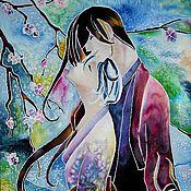 """Картины и панно ручной работы. Ярмарка Мастеров - ручная работа Батик """"Влюбленные"""". Handmade."""
