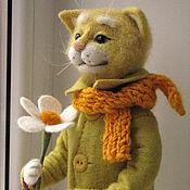 Куклы и игрушки ручной работы. Ярмарка Мастеров - ручная работа Солнечный кот.Игрушка из шерсти.. Handmade.