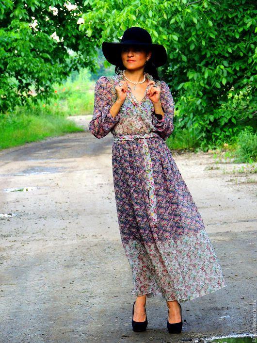 Платья ручной работы. Ярмарка Мастеров - ручная работа. Купить БОХО макси платье из микса шелкового шифона (№145). Handmade.