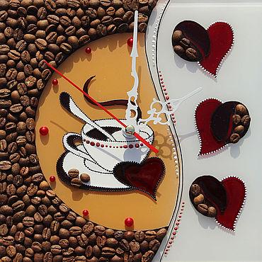 """Для дома и интерьера ручной работы. Ярмарка Мастеров - ручная работа Мини часики """"Влюбленным в кофе"""". Handmade."""