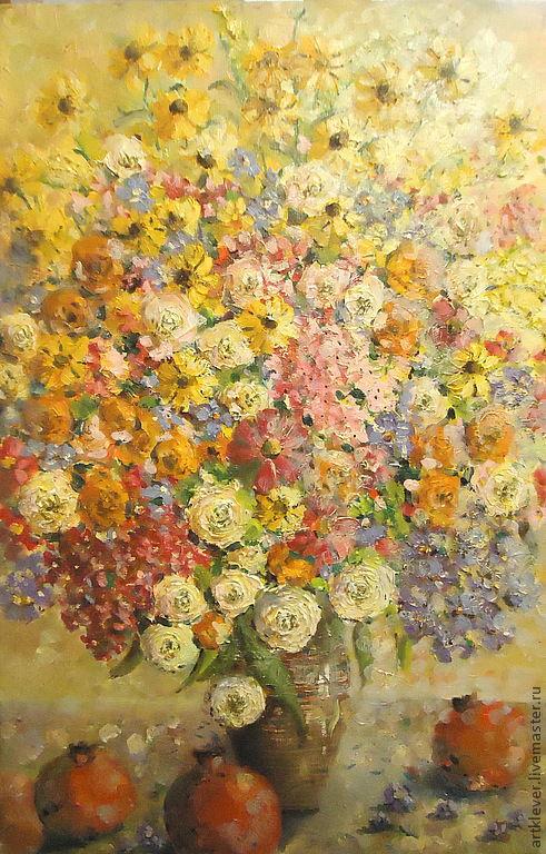 Картины цветов ручной работы. Ярмарка Мастеров - ручная работа. Купить Цветы и гранаты. Handmade. Розовый, цветы, гранаты, гранат