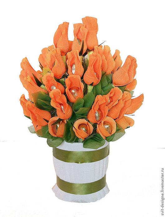 """свит- дизайн, сладкий подарок из конфет"""" Осенний вальс"""" и стеклянной вазы.Оригинальный подарок."""