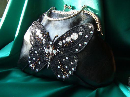 Женские сумки ручной работы. Ярмарка Мастеров - ручная работа. Купить Ночной мотылёк. Handmade. Черный, кожа, Фермуар пришивной