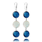 Украшения handmade. Livemaster - original item Long white-blue earrings cascade classics