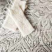 Свадебный салон handmade. Livemaster - original item Copy of Ivory wedding shawl. Knitted bridal shawl, Lace wedding scarf. Handmade.