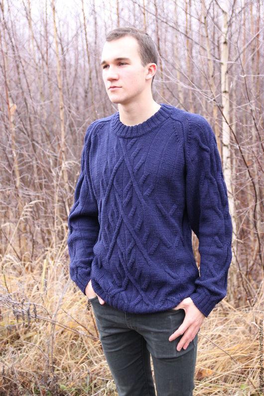 Для мужчин, ручной работы. Ярмарка Мастеров - ручная работа. Купить Мужской джемпер. Handmade. Тёмно-синий, пуловер вязаный