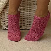 "Аксессуары handmade. Livemaster - original item Носки короткие шерстяные розовые ""Малина"". Handmade."