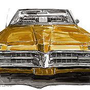 Картины и панно handmade. Livemaster - original item Drawing, 1967 Pontiac Grand Prix car. Handmade.