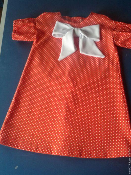 """Одежда для девочек, ручной работы. Ярмарка Мастеров - ручная работа. Купить платье для девочки """"Горошки"""". Handmade. Ярко-красный"""