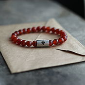 Украшения handmade. Livemaster - original item Diamond bracelet made of carnelian and medical steel. Handmade.