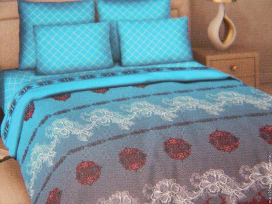 """Текстиль, ковры ручной работы. Ярмарка Мастеров - ручная работа. Купить Комплект постельного белья из поплина (перкаль) """"Бирюза"""". Handmade."""