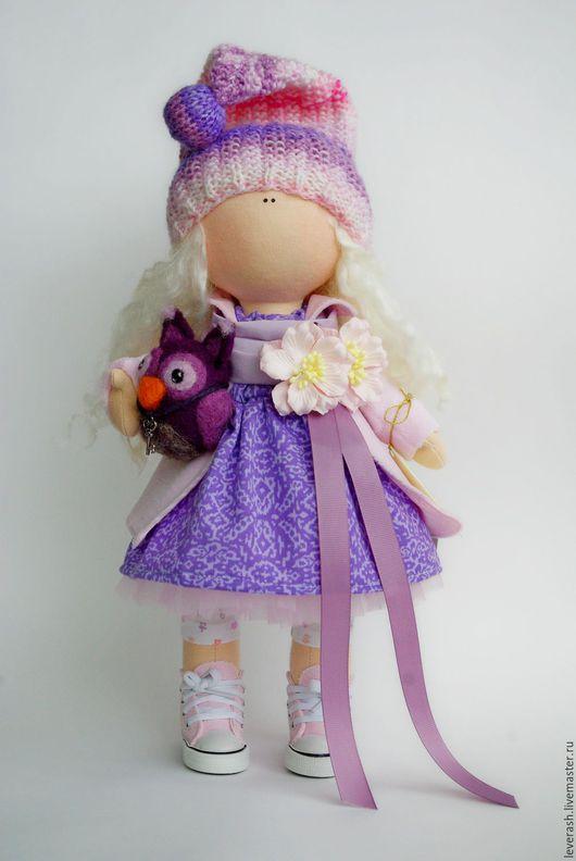 Коллекционные куклы ручной работы. Ярмарка Мастеров - ручная работа. Купить Куколка с совенком. Handmade. Сиреневый, совушка, большеножка, пряжа