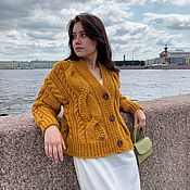 Одежда handmade. Livemaster - original item cardigans: Women`s knitted cardigan short with buttons color mustard. Handmade.