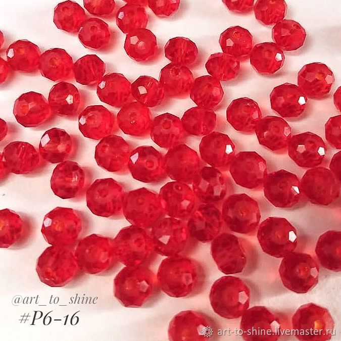 Рондели, 6 мм, red (арт. Р6-16), Бусины, Кострома, Фото №1