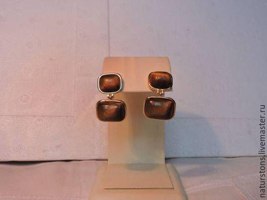 Серьги ручной работы. Ярмарка Мастеров - ручная работа. Купить серьги с тигровым глазом. Handmade. Коричневый, уникальный подарок