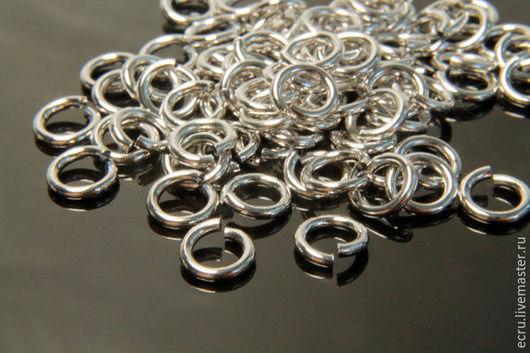 Колечки 6 мм соединительные, родиевое покрытие, фурнитура Южная Корея