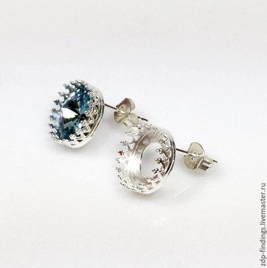 Для украшений ручной работы. Ярмарка Мастеров - ручная работа. Купить 2 пары серебряных 10мм сеттингов оправ для пуссет 956320. Handmade.
