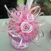 """Цветы и флористика ручной работы. Ярмарка Мастеров - ручная работа Топиарий """"Розовые розы"""". Handmade."""