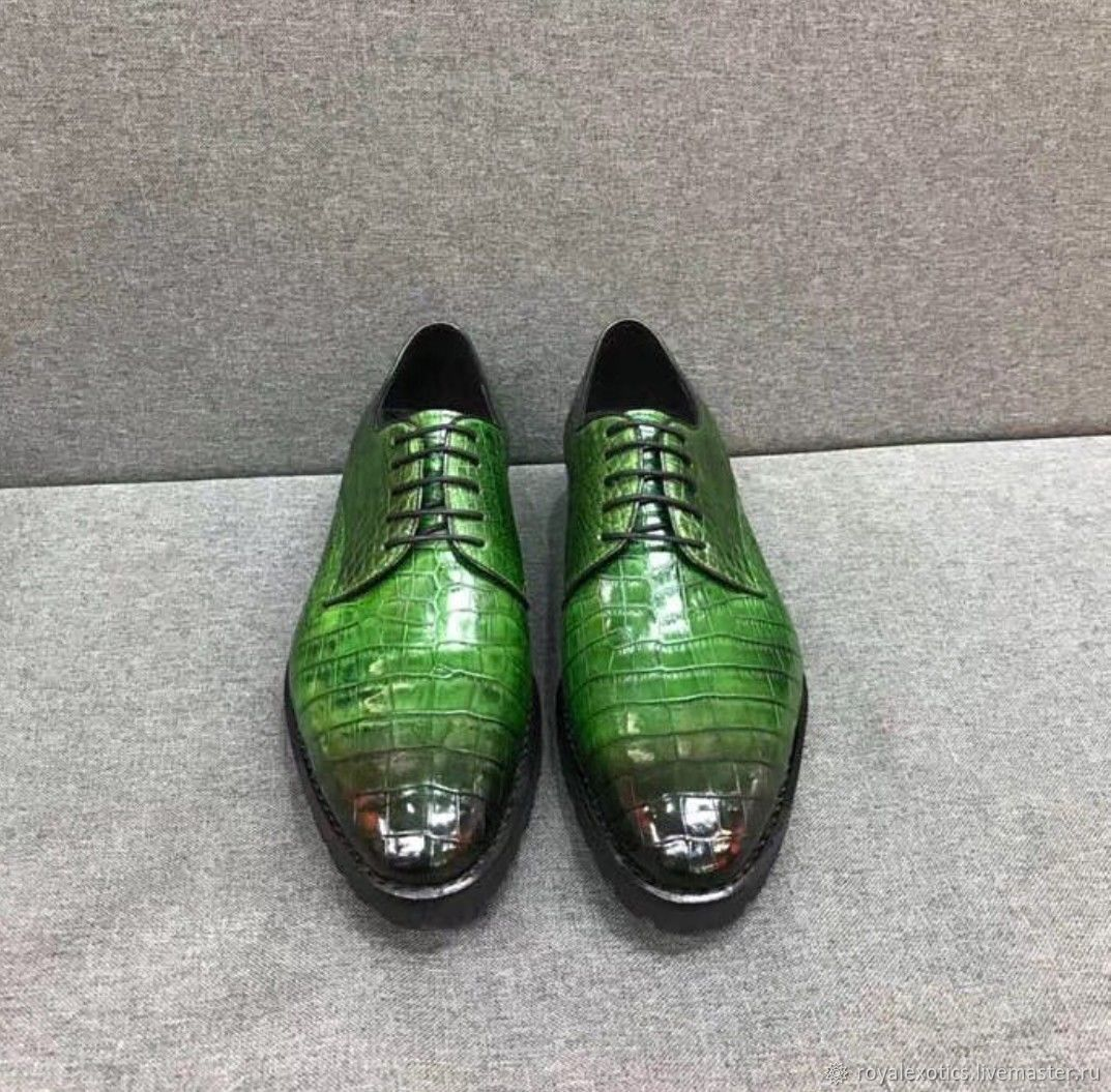 Shoes - Chucky crocodile leather in green color, Boots, Tosno,  Фото №1