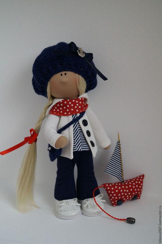 Куклы тыквоголовки ручной работы. Ярмарка Мастеров - ручная работа. Купить Интерьерная кукла Морячка. Handmade. Ярко-красный