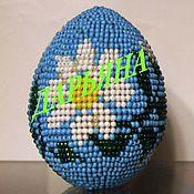 """Сувениры и подарки ручной работы. Ярмарка Мастеров - ручная работа яйцо """"Ромашки"""" оплетённое бисером. Handmade."""