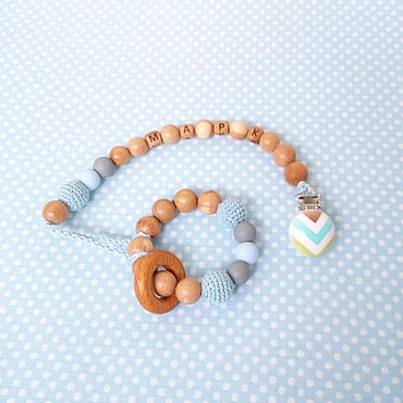 Куклы и игрушки ручной работы. Ярмарка Мастеров - ручная работа Комплект: именной держатель и грызунок. Handmade.