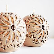 Свечи ручной работы. Ярмарка Мастеров - ручная работа Резные интерьерные свечи шары - бежевый коричневый персиковый. Handmade.