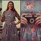 Одежда ручной работы. Ярмарка Мастеров - ручная работа Голубое платье с цветами. Handmade.