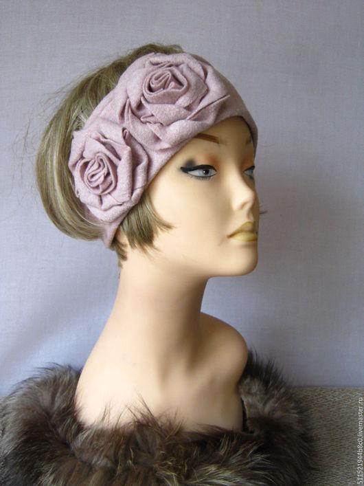 Повязки ручной работы. Ярмарка Мастеров - ручная работа. Купить Пыльная роза - повязка на голову. Handmade. Повязка с цветами