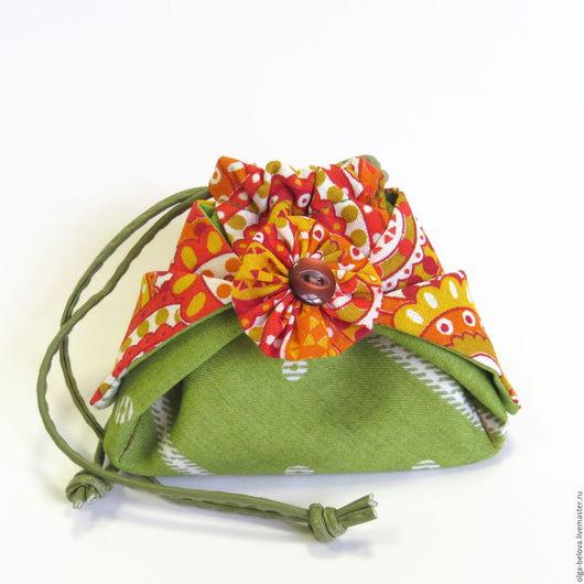 Женские сумки ручной работы. Ярмарка Мастеров - ручная работа. Купить Мешочек из ткани. Handmade. Разноцветный, упаковка для подарка, зеленый
