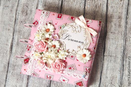 """Фотоальбомы ручной работы. Ярмарка Мастеров - ручная работа. Купить Детский фотоальбом """"Доченька"""" (детский, подарок, девочке). Handmade. Розовый"""
