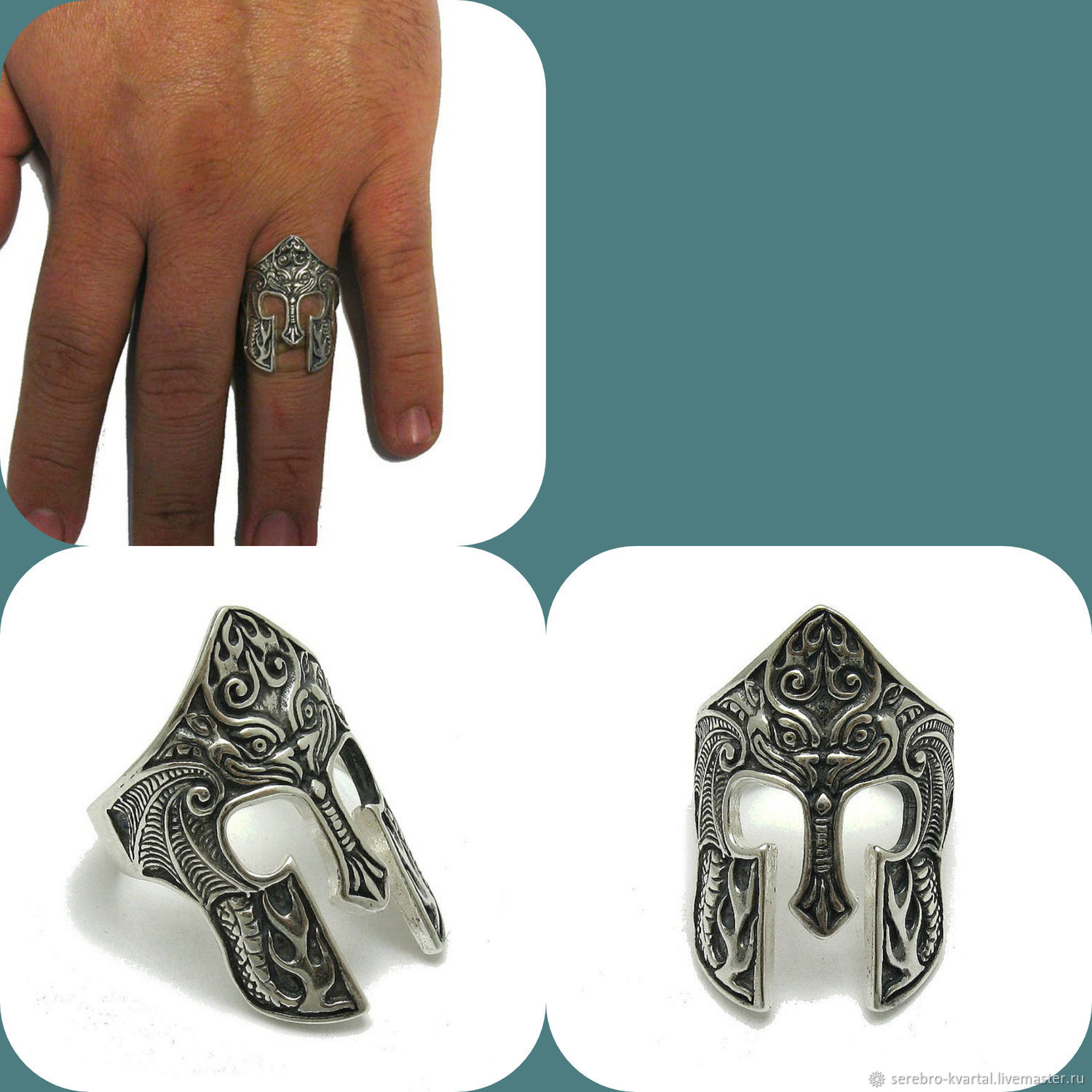 A Spartan helmet ring. Spartan Helmet 925 Sterling Silver, Accessories for Pets, Turin,  Фото №1